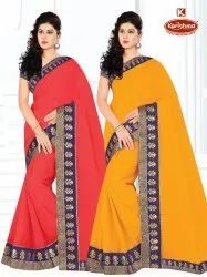 Dyed Marble Fabric Embroidery work Saree with Lace - Benton