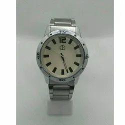 Men Round Silver Mens Wrist Watch