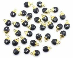 Black Onyx Gold Electroplated Oval Beralite Pendant