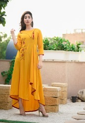 Designer Mustard Flared Long Kurti Gown