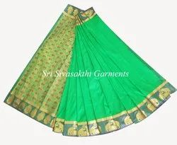Border Party Wear Taana Silk Sarees With Blouse Piece