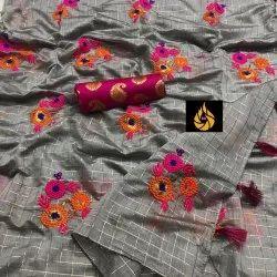 Beautiful Soft Chanderi Silk With Embroidered Work Saree