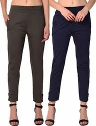 Ladies Cotton Lycra Cigarette Pants