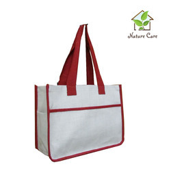 Jute Bag With Red Colored Tape Handle