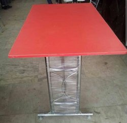 Red Restoro Table, Wooden And Ss, Size: 30*36
