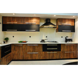 Wooden Straight Modular Kitchen Service, Warranty: 5-10 Years, Kitchen Cabinets