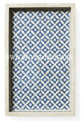 Chevron and Geo Pattern Bone Inlay Tray (Authentic and High Quality)