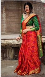 Designer Rich Pallu Patola Silk Saree with Contract Blouse