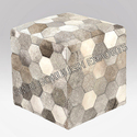 Sge Geometical Natural Hide Ottoman