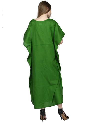 901e5a70c4 Skavij Womens Kaftan Nightgown Tunic Embroidered Cotton Dress Beach Cover  Up Plus Size - Green