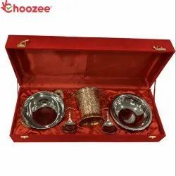 Choozee - Copper SS Handi, Bucket and Kadhai Set (800 ML) with Serving Spoon Oval