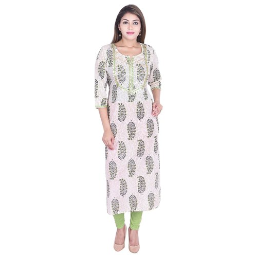 Fancy Round Neck Printed Cotton Kurti