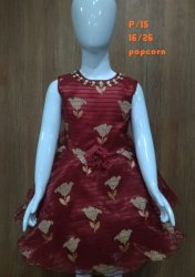 Sleeveless Cotton Girls Party Wear Red Printed Frock