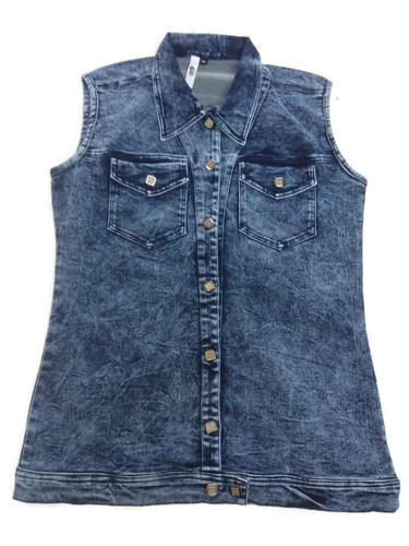 573dd0d0d2a156 Casual Jackets Sleeveless Denim Casual Sleeve Lace Jacket