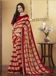 PR Fashion New Red Chekcs Printed Saree