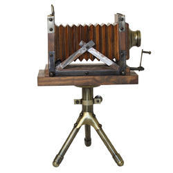 Vintage Tabletop Wooden Camera With Tripod