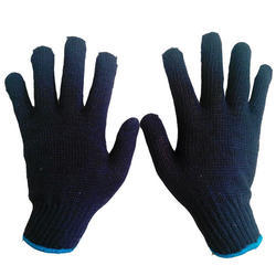 Rajkot Cotton Knitted Blue Hand Gloves