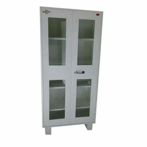 Grey Mild Steel,Glass Mild Steel Bookcase Almirah, for Office