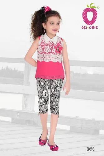 repertorio Comité cobertura  Cute Pink White Lase Attach Sleeve Less Top And Black Jacquard Jegging at  Rs 860/piece | Kids Clothing | ID: 22435488112
