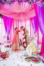 Purple flower decoration wedding, india