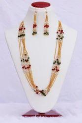 Brand:Hr Sales,Casual Wear Hr-407 Long 7 Line Multi Color Pearl Mala Necklace Set