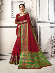 Glowing Red Colored Party Wear Chanderi Cotton Saree with Blouse Piece