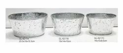 Galvanized Planters Oval Set of 3 pieces