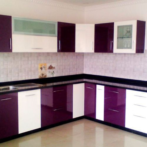 Purple And White Lacquer Pvc Kitchen Cabinet