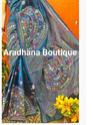 Deep Blue Silk Kantha Stitch Saree