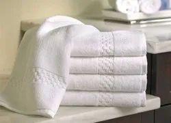 White Plain Fiesta Flora Hotel Towels, 450-550 GSM