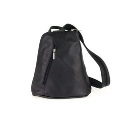 Plain Ladies Black Leather Backpack