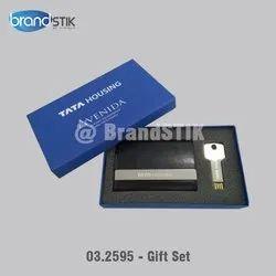 Multicolor Gift Set - Key Pen Drive & Card Holder, Memory Size: 16 GB