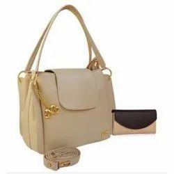 Light Brown Rexine Ladies Fashion Hand Bag