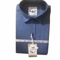 Blue Mens Cotton Printed Shirt
