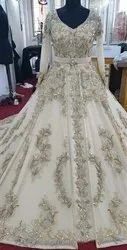 White Embroidery Crystal Wedding Dress, Size: Free