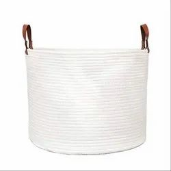 Handmade Cotton Rope Storage Basket With Handles