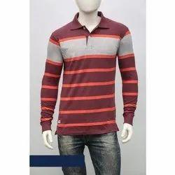Cotton Striped Print Men's US Polo Neck Full Sleeve T Shirt