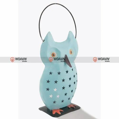 Woavin Iron Painted Owl With Cut Work, Size/Dimension: 17x10x26 cm