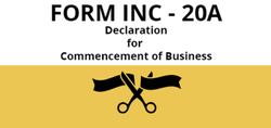 Declaration Of Commencement Of Business By Company -  INC 20 A