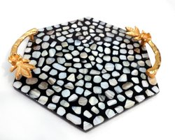Mother Of Pearl Tray With Metal Handles