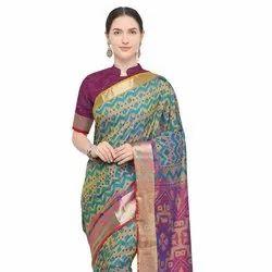 Nylon Silk Ikkat Saree