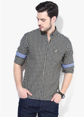 5256e31c6d45 Cotton Navy Blue Checked Slim Fit Casual Shirt, Rs 860 /piece | ID ...