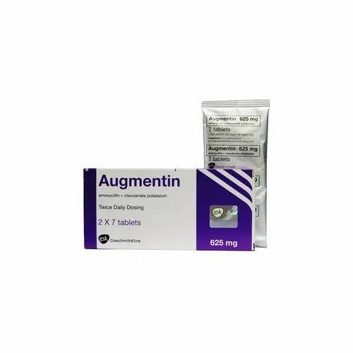 Augmentin Amoxicillin Clavulanate Potassium Tablets, Packaging Type: Box,  Dosage: 625 Mg, Rs 150 /box | ID: 21950033433