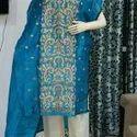 Cotton Silk Resham Thread Embroidery Long Semi Stitched Kurti