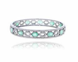 Pave Diamond Emerald Bangle
