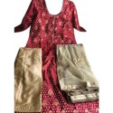 Maroon And Golden Ladies Semi Stitched Party Wear Suit