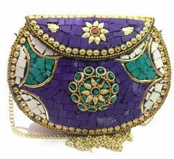 Antique Metal purse Mosaic Clutch wallet sling bag bridal bag Ethnic Party bags cross body women sho