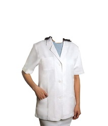 White Polyester Cotton Lab Dress