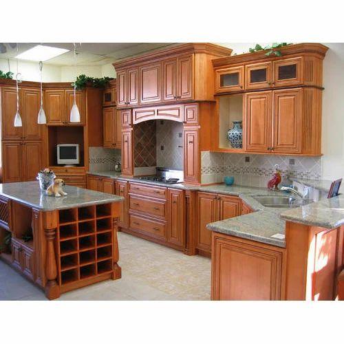 Brown Wooden Modular Kitchen, Lakdi Ka Modular Rasoi Ghar