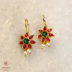 Copper And Brass Swaabhi Gold Finish Pink Green Flower Bugadi For Women, Size: 0.8 inch
